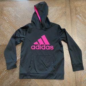 Adidas black sweatshirt logo on front hot pink.